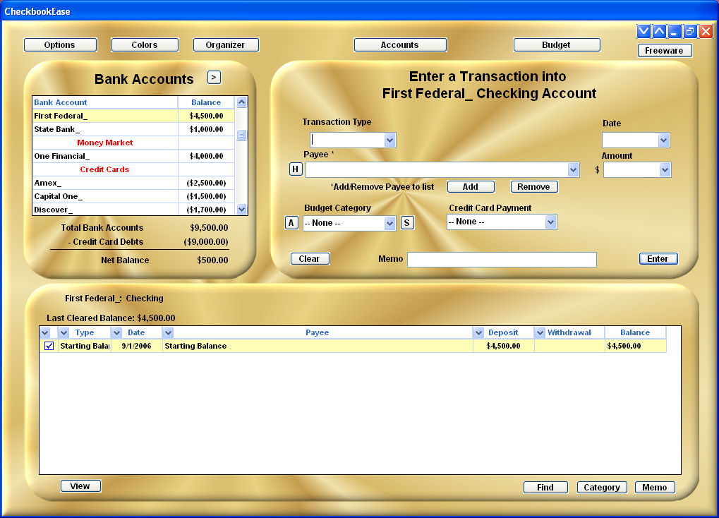 Checkbook Ease Freeware 2.1