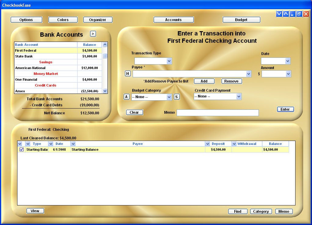 Click to view Checkbook Ease Premium 2.1 screenshot