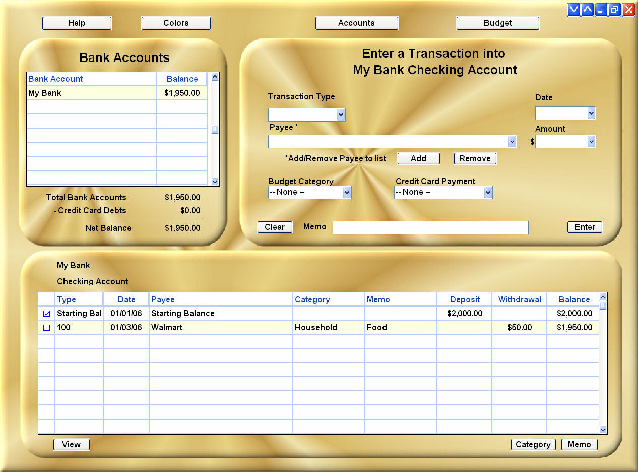 CHECKBOOK EASE Freeware Checkbook/Budget, one beautiful window with 20 colors.